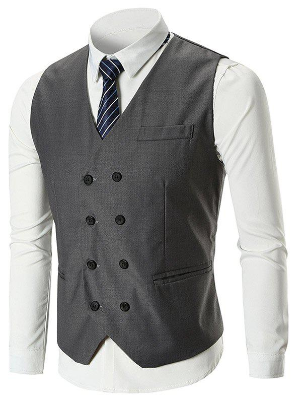 Belt Design Double Breasted Slim Fit Waistcoat - GRAY XL