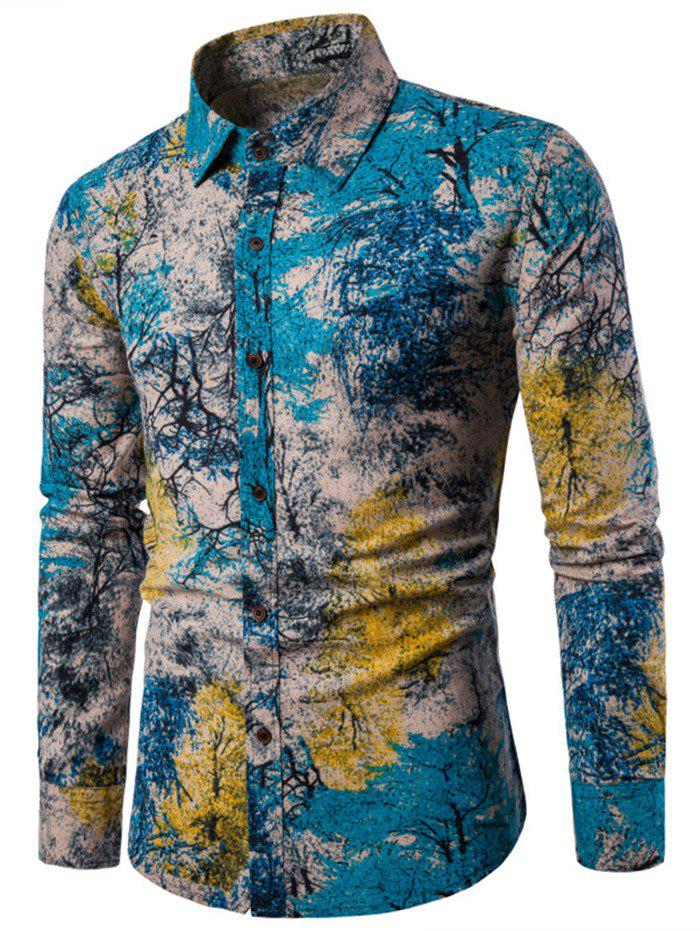 Button Up Tree Ink Painting Printed Shirt - BLUE XL