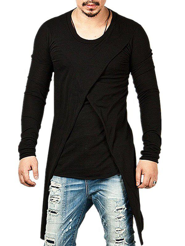 Solid Color False Two Pieces Tee Shirt - BLACK M