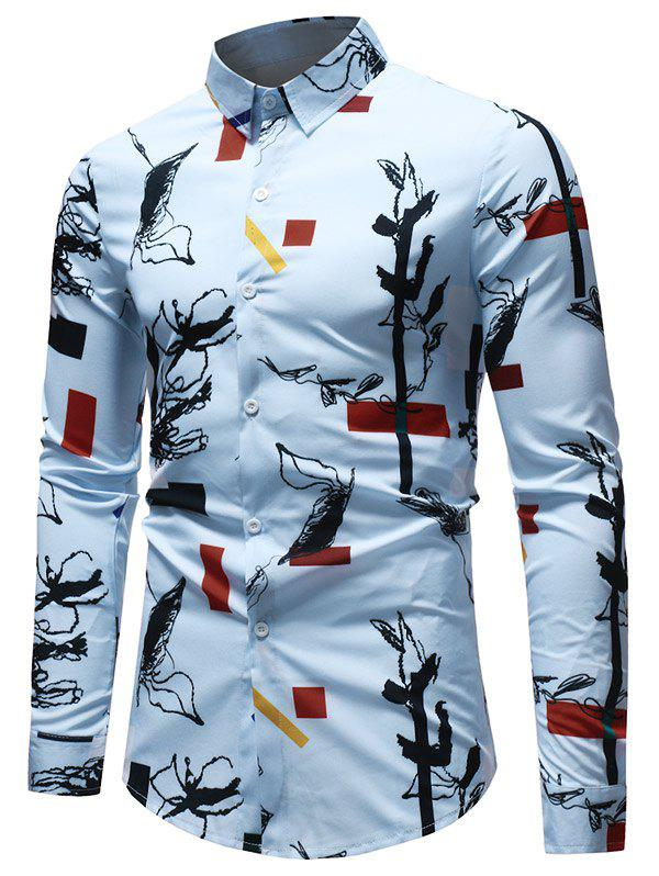 Casual Geometrical Ink Painting Print Shirt - multicolor 2XL
