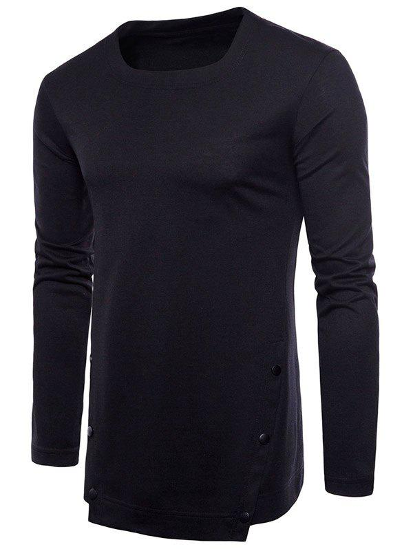 Casual Irregular Hem T-shirt with Buttons - BLACK M