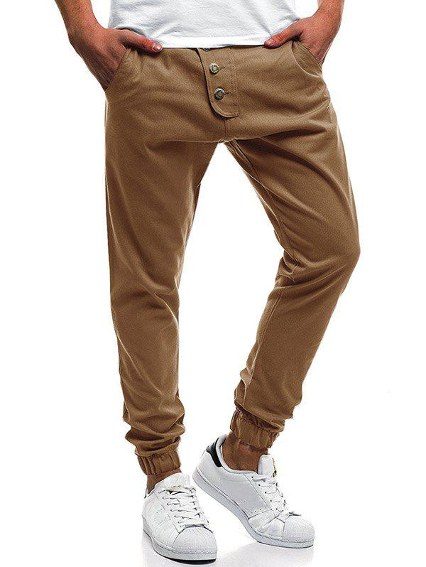 Button Decor Elastic Cuffed Drawstring Casual Jogger Pants - DARK KHAKI 2XL