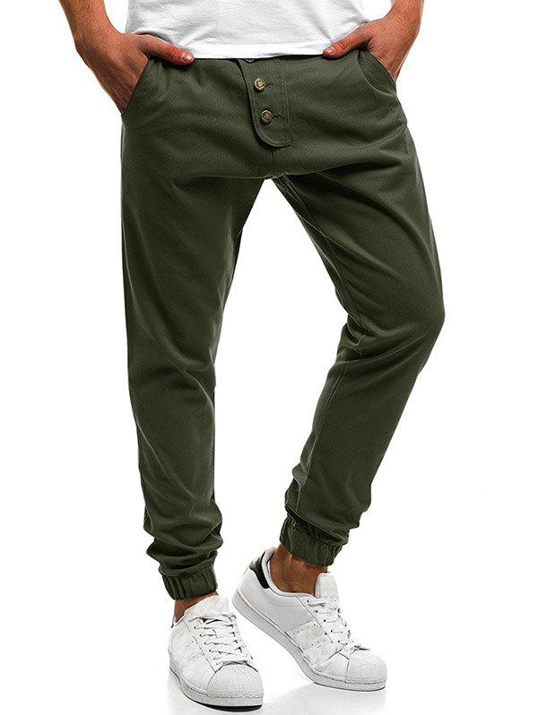 Button Decor Elastic Cuffed Drawstring Casual Jogger Pants - ARMY GREEN XL