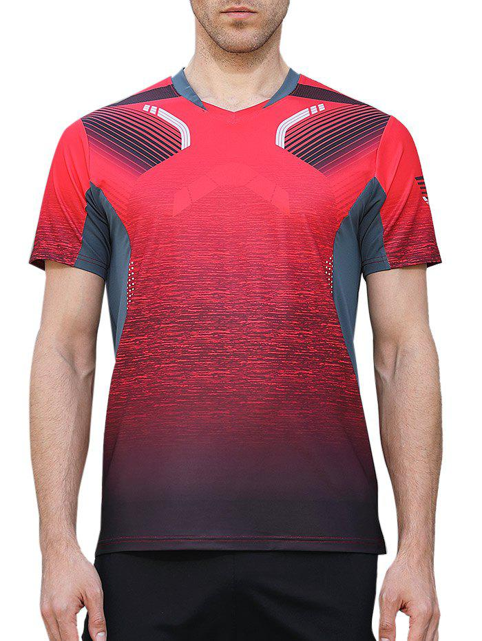 Geometric Print Splicing Sleeves Quick Dry Sports T-shirt - RED M