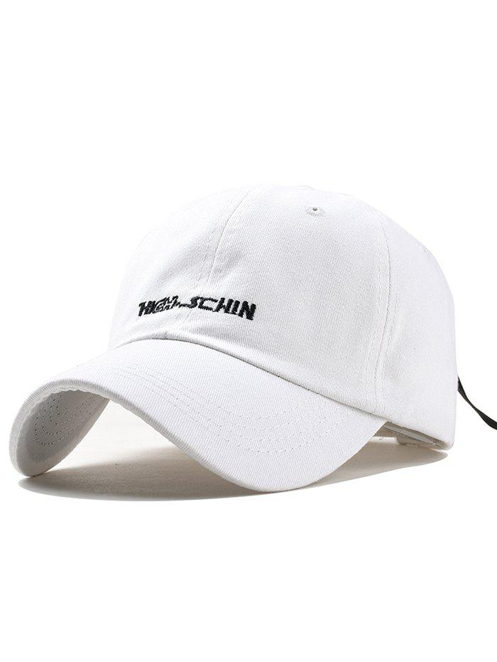Stylish Letter Embroidery Breathable Trucker Hat - WHITE