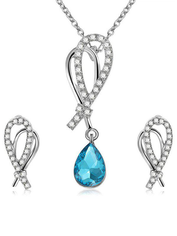 Shiny Rhinestone Inlaid Water Drop Crystal Jewelry Suit - LIGHT BLUE