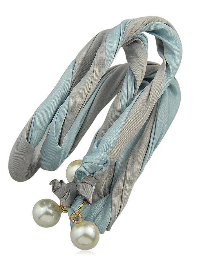Color Block Hairband With Faux Pearl - GRAY