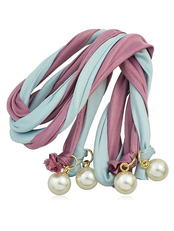 Color Block Hairband With Faux Pearl - PURPLE