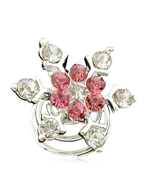 Faux Diamond Flower Hair Accessory - ROSE RED