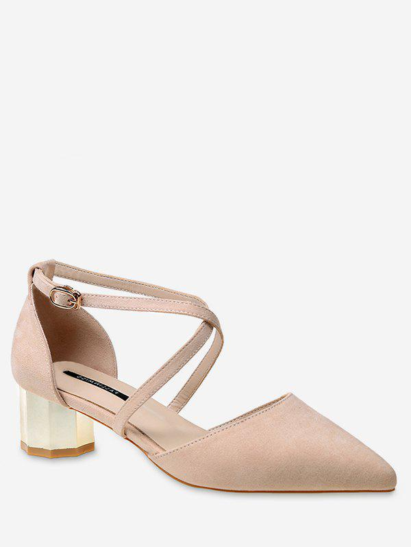 Mid Heel Party Pointed Toe Crisscross Pumps - APRICOT 38