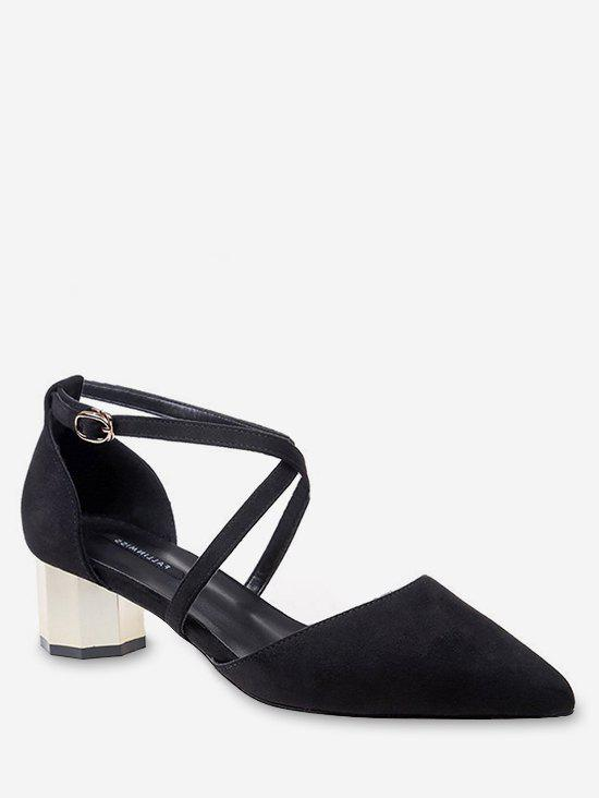 Mid Heel Party Pointed Toe Crisscross Pumps - BLACK 37