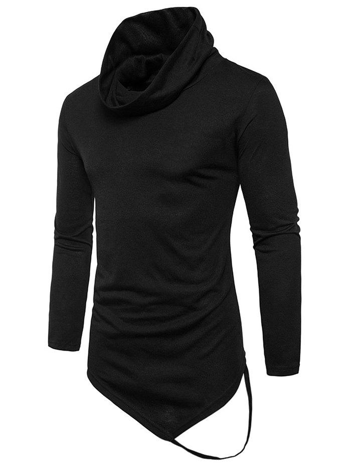 Cowl Collar Anomalous Hem Tee Shirt - BLACK M