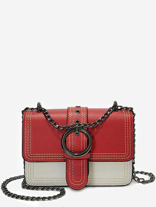 Stitching Flapped Metal Chain Chic Crossbody Bag - RED HORIZONTAL