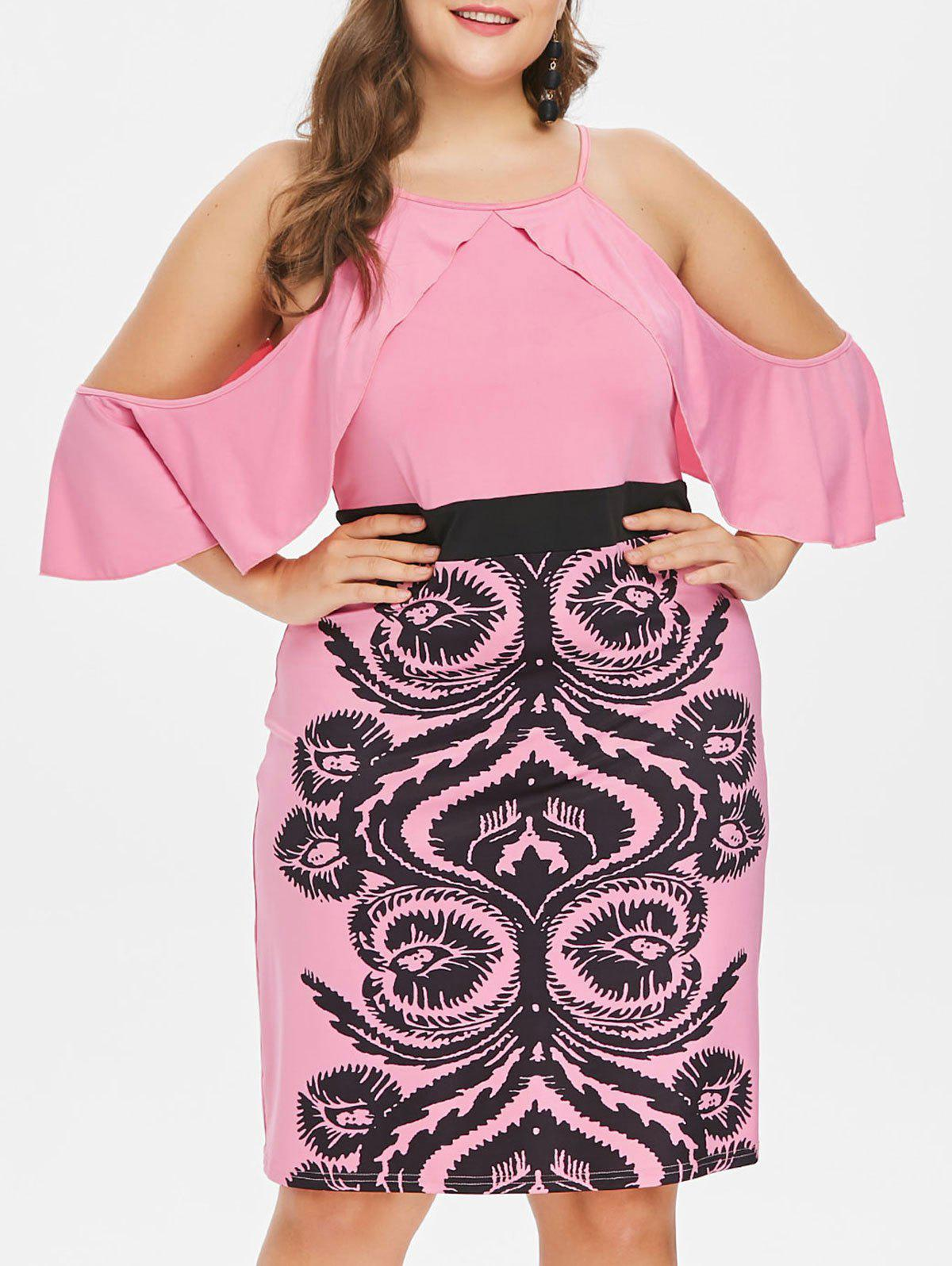 Plus Size Graphic Open Shoulder Sheath Dress - PINK 3X