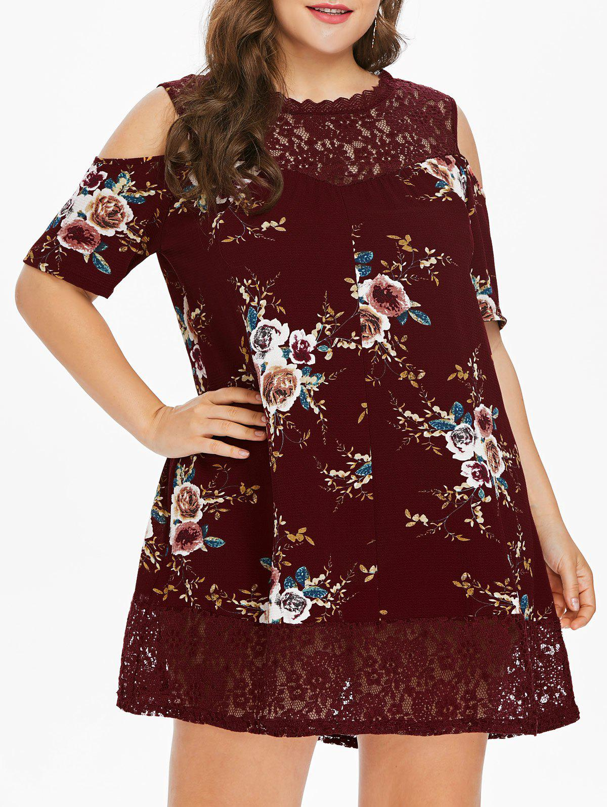 Plus Size Flower Lace Tunic Dress - RED WINE L