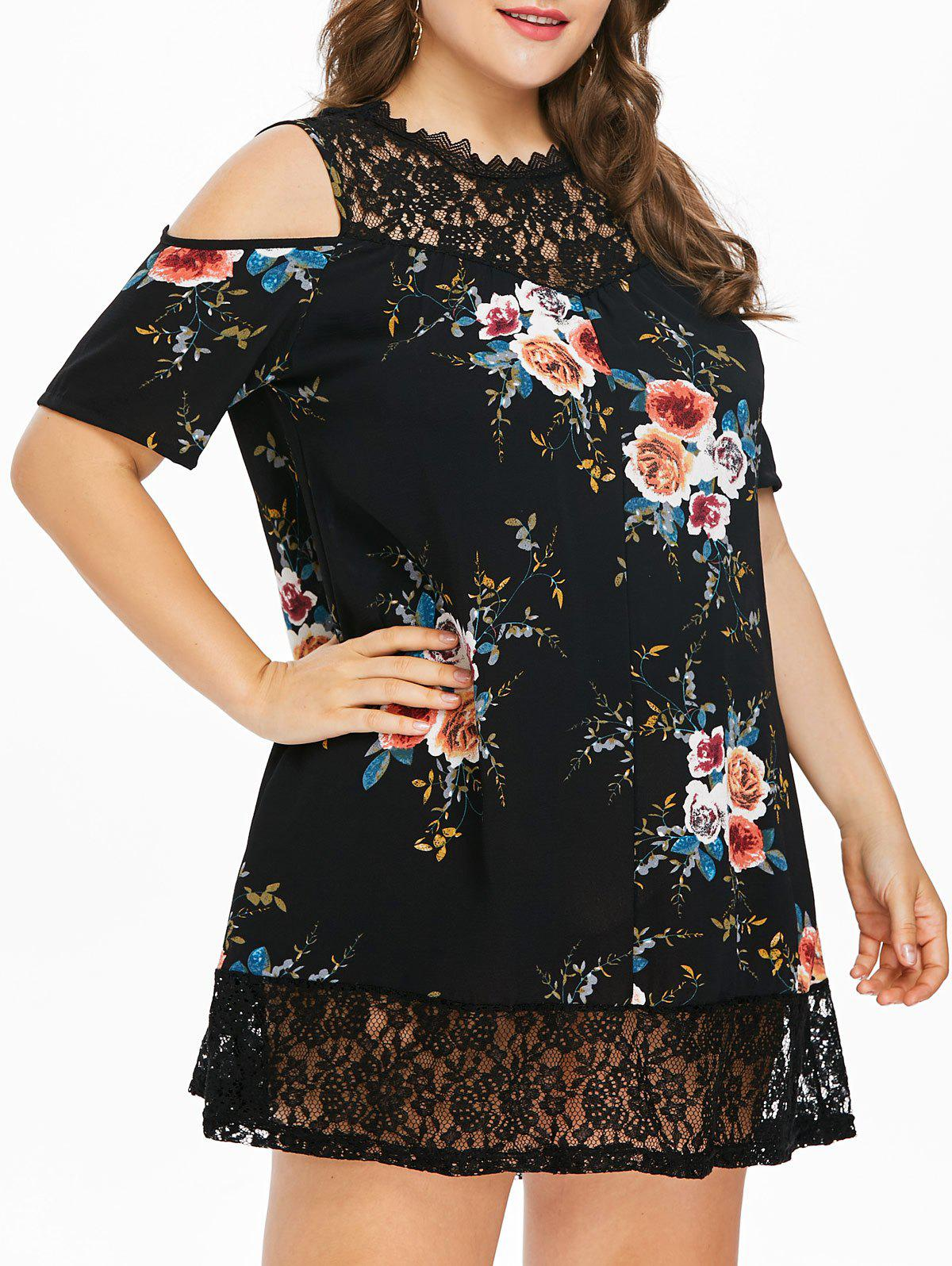 Plus Size Flower Lace Tunic Dress - BLACK 1X