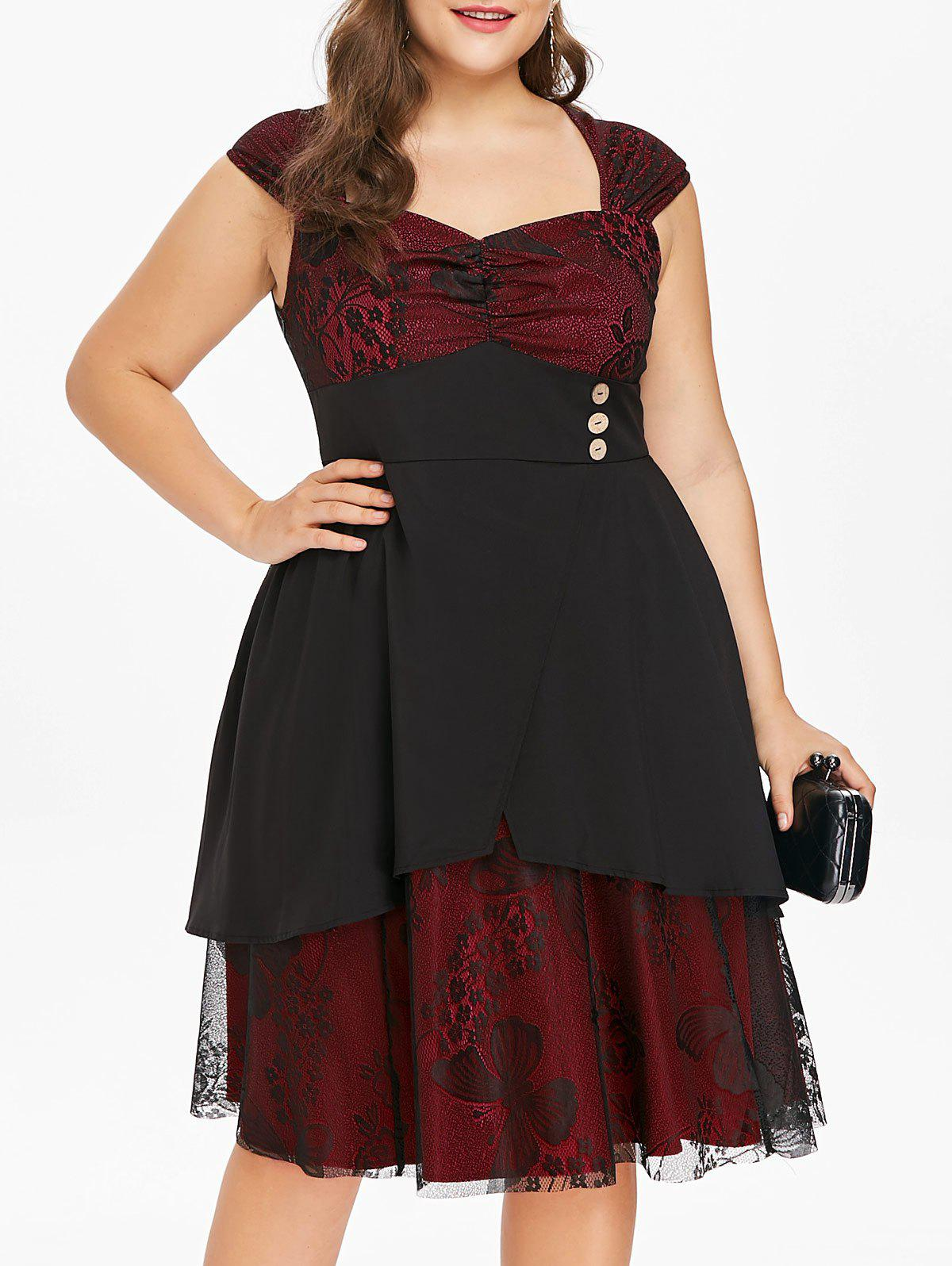 Plus Size Sweetheart Neck A Line Dress - RED WINE 4X