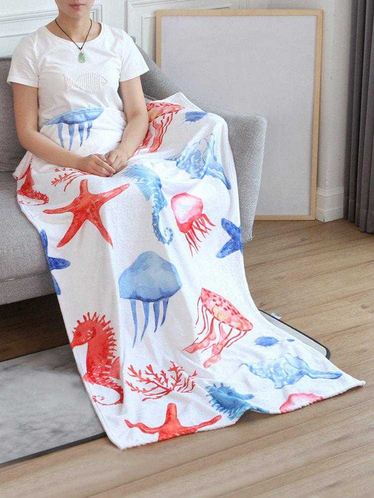 Jellyfish Seahorse Starfish Pattern Flannel Soft Bed Blanket - multicolor W51 INCH*L59 INCH