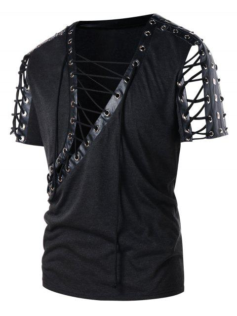 PU Leather Panel Rivet Lace Up T-shirt - ASH GRAY 2XL