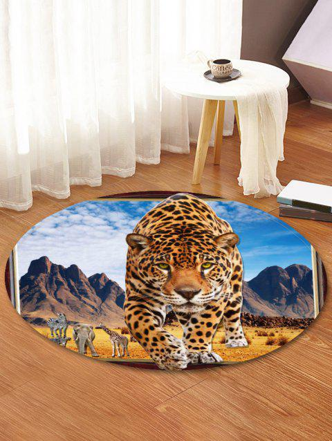 Leopard Steppe Pattern Round Area Rug - multicolor 80 CM (ROUND)