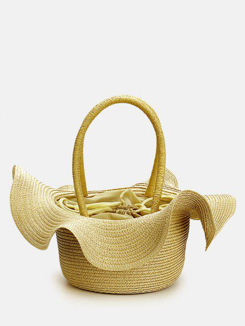 Leisure Vacation Straw Beach Flounce Hat Shaped Handbag - DARK KHAKI