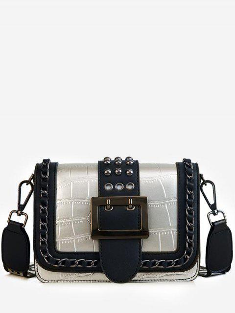 Studs Eyelets Metal Chain Contrasting Color Crossbody Bag - PLATINUM