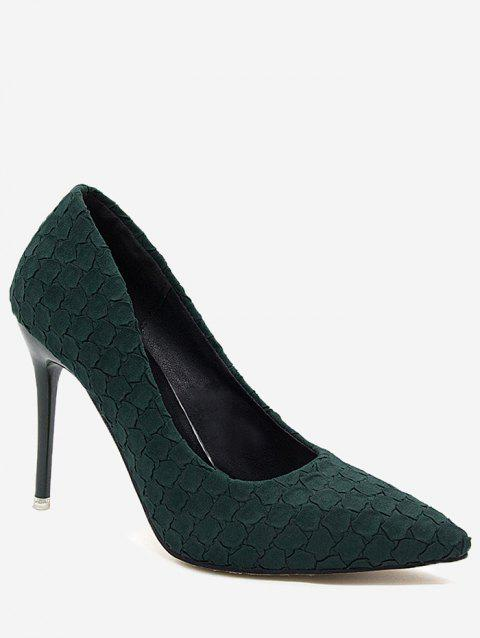Pointed Toe High Heel Embossing Prom Pumps - GREEN 36