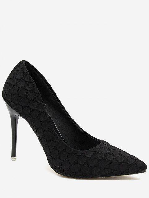 Pointed Toe High Heel Embossing Prom Pumps - BLACK 37