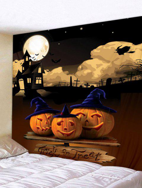 Halloween Night Pumpkins Pattern Wall Art Tapestry - multicolor W79 INCH * L71 INCH