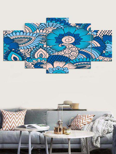 Abstract Flower Print Unframed Split Canvas Paintings - BUTTERFLY BLUE 1PC:8*20,2PCS:8*12,2PCS:8*16 INCH( NO FRAME )