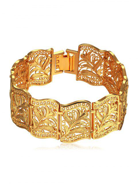 Stylish Carved Floral Hollow Out Bracelet - GOLD