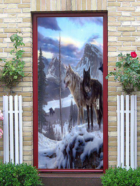 Wolf Snow Mountain Printed Door Art Stickers - multicolor 38.5*200CM*2PCS
