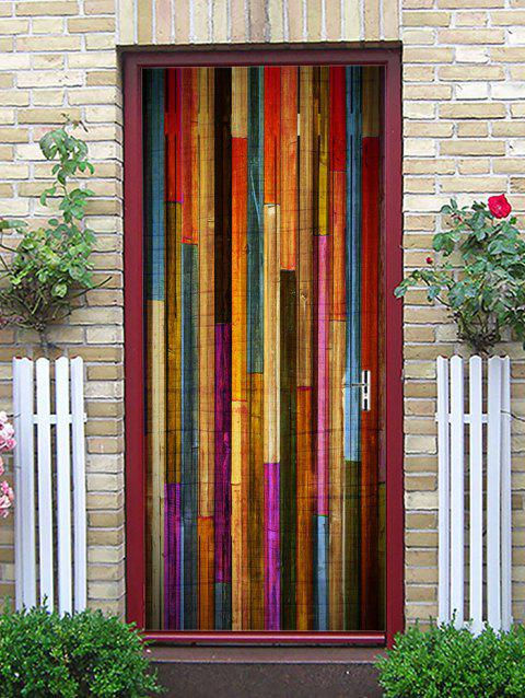 Colorful Wood Board Print Door Decals - multicolor 38.5*200CM*2PCS