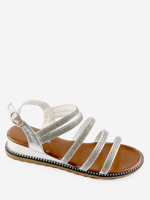 Crystals Studs Chic Low Heel Slingback Sandals - SILVER 37