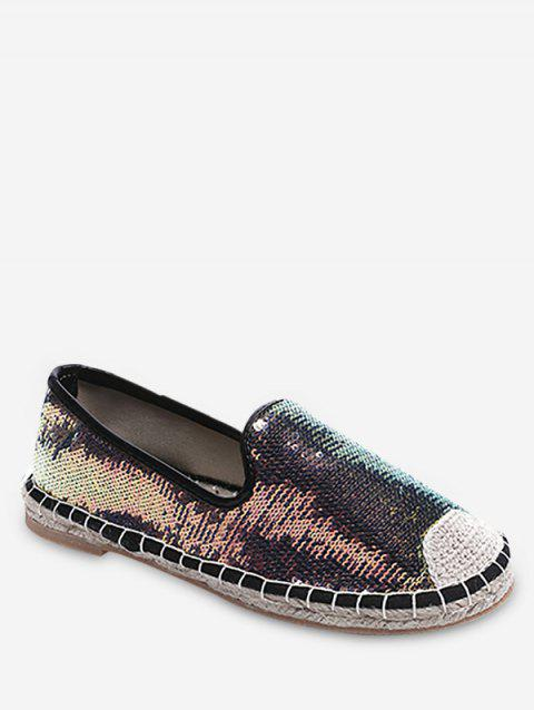 Flat Heel Espadrille Holographic Glitters Loafers - multicolor 37