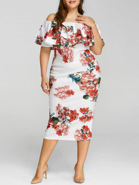 Floral Print Ruffle Plus Size Dress