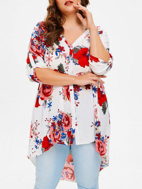 Plus Size Flowered High Low Shirt - WHITE 5X