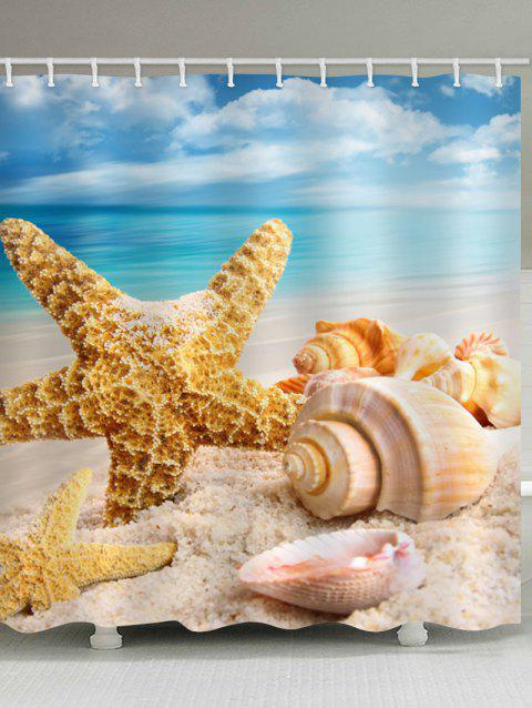 Beach Conch Starfish Print Waterproof Shower Curtain - multicolor W71 INCH * L71 INCH