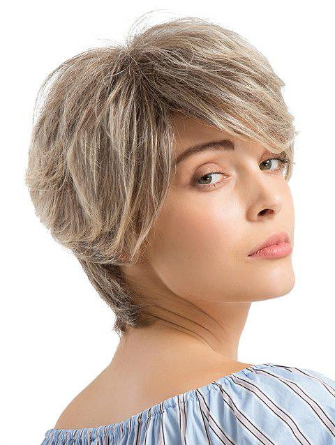 Short Layer Colormix Side Bang Straight Human Hair Wig - multicolor