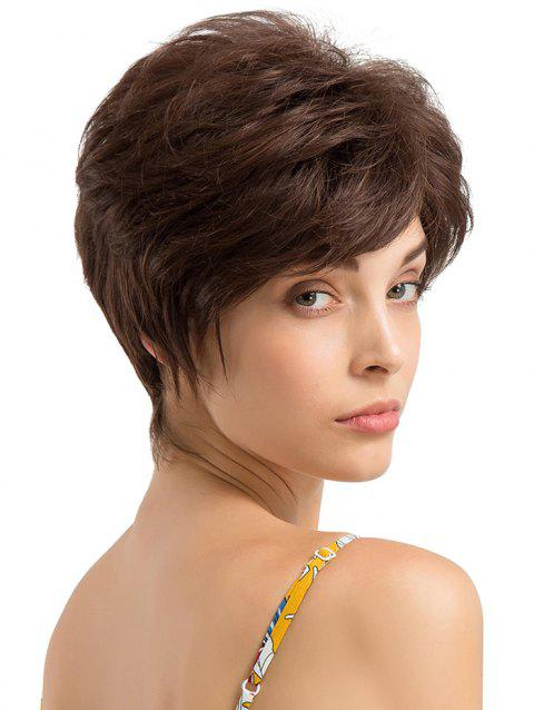 Short Side Fringe Layer Straight Human Hair Wig - BROWN