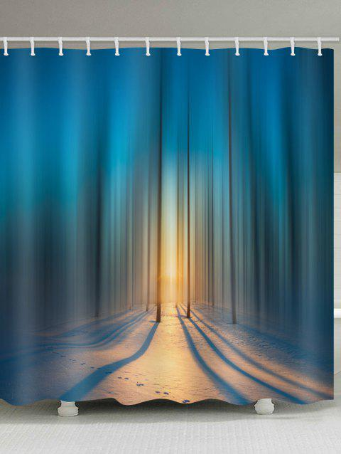 Sunset Forest Print Waterproof Bathroom Curtain - multicolor W71 INCH * L79 INCH