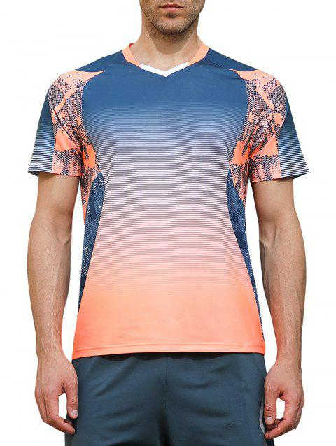 Ombre Geometrical Print Fast Dry Breathable Activewear T-shirt - BLUE JAY L