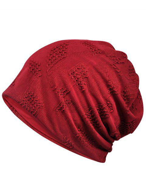 Vintage Solid Color Breathable Beanie Hat - RED WINE