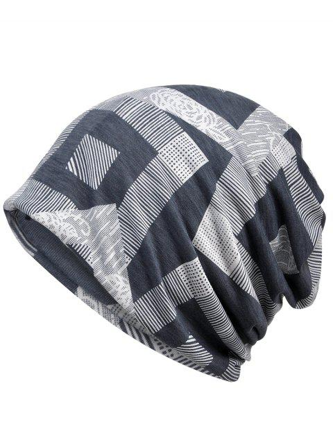 Lightweight Geometric Printed Slouchy Beanie - GRAY