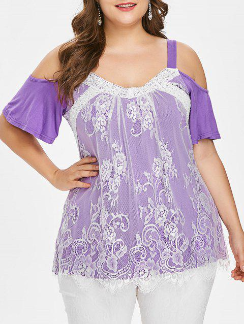 Plus Size Lace Trim Open Shoulder Top - PURPLE 5X