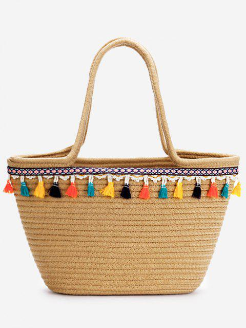 Bohemian Tassels Bucket Shaped Tote Bag - DARK KHAKI