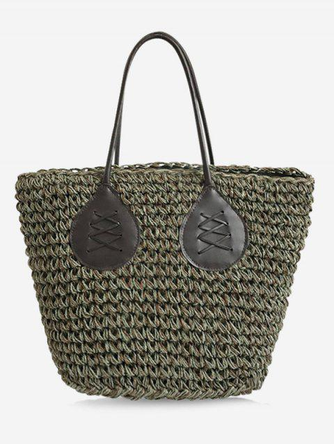 Minimalist Straw Bohemian Beach Tote Bag - GREEN