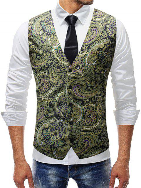 Vintage Floral Print Adjustable Back Buckle Vest - multicolor S