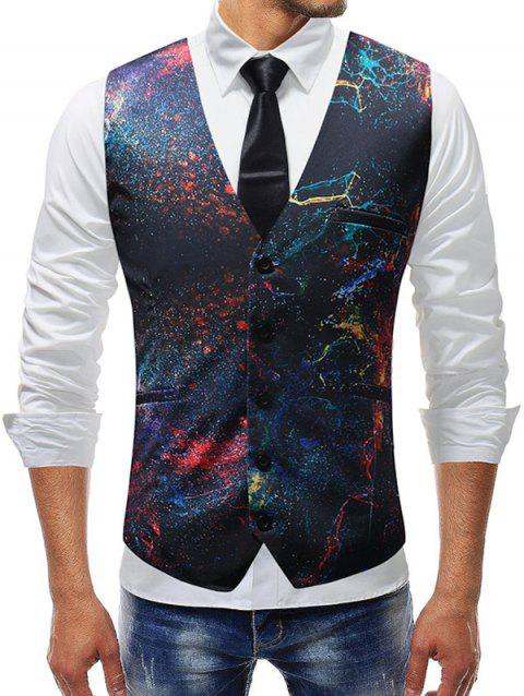 Adjustable Back Buckle Oil Paint Print Vest - multicolor M