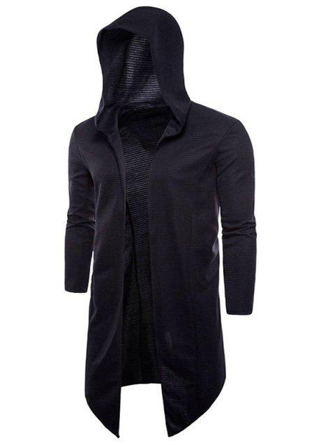 Ribbed Front Triangle Hem Hoodie Cardigan - BLACK XL